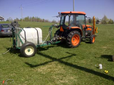 tractor-powered (PTO) spray equipment with water tank