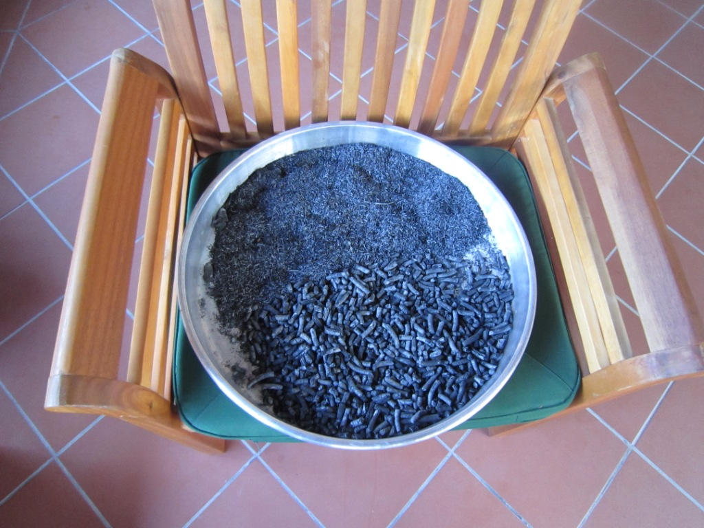 Rice husk and pellet char